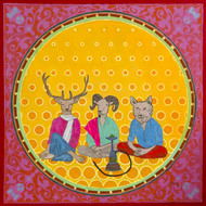 allegory of rice route- Ganja group by Tushar Waghela, Expressionism Painting, Acrylic on Canvas, Orange color