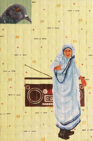 harmony by riddhima sharraf, Conceptual Painting, Oil & Acrylic on Canvas, Beige color