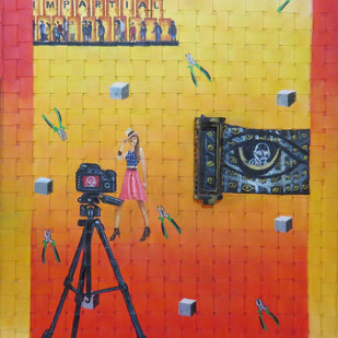 golden eye by riddhima sharraf, Conceptual Painting, Mixed Media on Canvas, Beige color