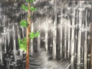 Eucalyptus by Kajal Nalwa, Impressionism Painting, Mixed Media on Paper, Gray color