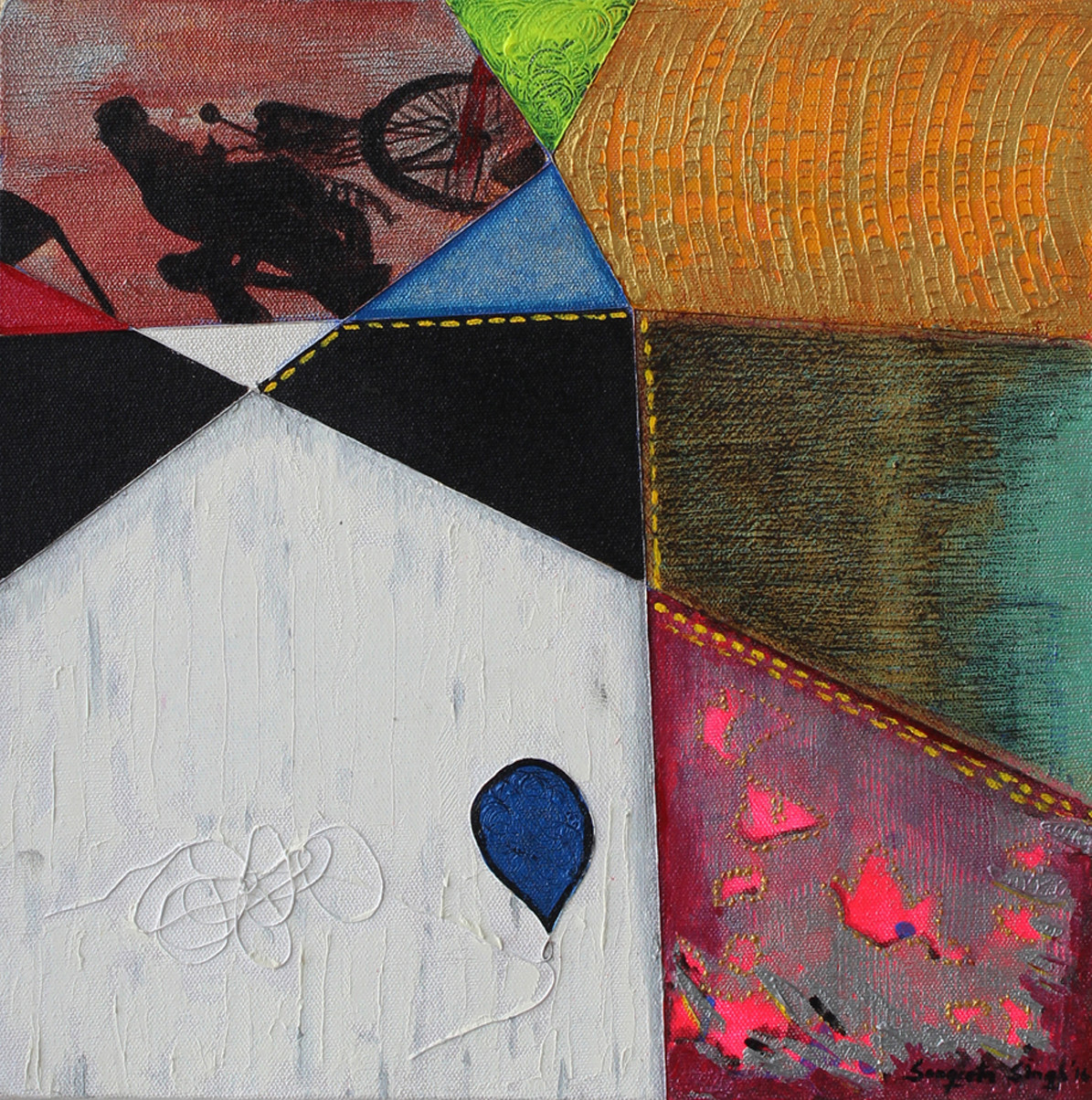 Threads of Ecstasy by Sangeeta Singh, Conceptual Painting, Mixed Media on Canvas, Brown color