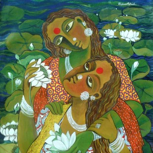 Untitled03 by Jayshree P Malimath, Expressionism Painting, Acrylic on Canvas, Green color