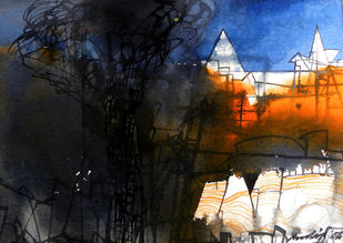 Untitled by Pradip Sengupta, Impressionism Painting, Watercolor on Paper, Gray color