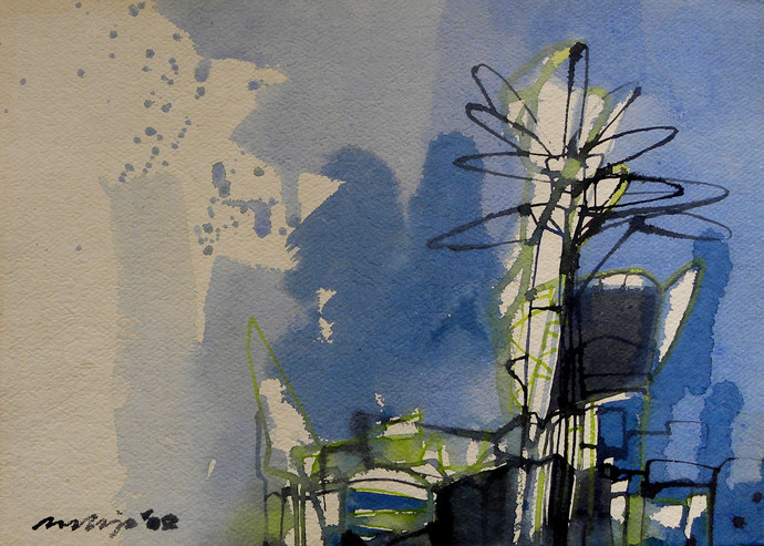 Untitled by Pradip Sengupta, Impressionism Painting, Watercolor on Paper, Blue color