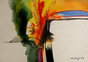 Untitled by Pradip Sengupta, Expressionism Painting, Watercolor on Paper, Beige color