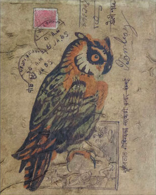 owl 1 by DOLLY AGARWAL, Conceptual Painting, Tempera on Board, Brown color