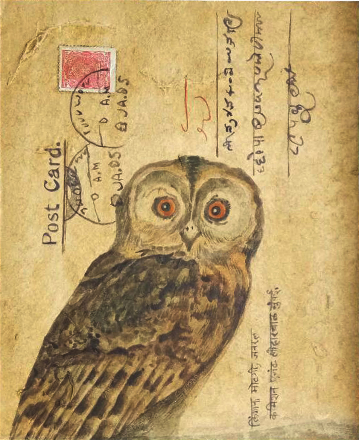 OWL 3 by DOLLY AGARWAL, Conceptual Painting, Tempera on Board, Beige color