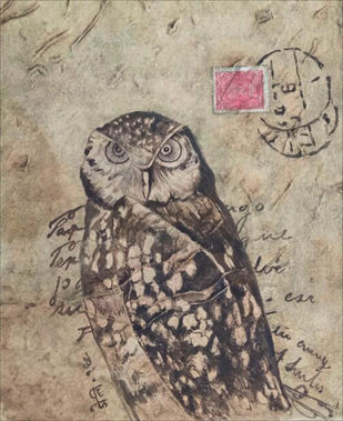 owl 4 by DOLLY AGARWAL, Conceptual Painting, Tempera on Board, Beige color
