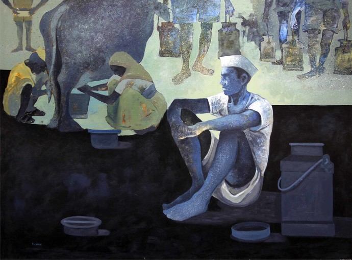 Simple Life by Nivas Kanhere, Conceptual Painting, Acrylic on Canvas, Gray color