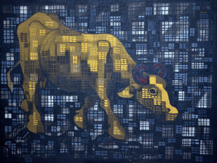 Golden Buffalo by Nivas Kanhere, Conceptual Painting, Acrylic on Canvas, Blue color