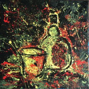 Companion : The old monk by Saikat Chakraborty, Impressionism Painting, Acrylic on Canvas, Brown color