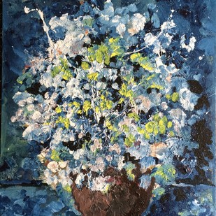 The flower vase by Saikat Chakraborty, Impressionism Painting, Acrylic on Canvas, Blue color