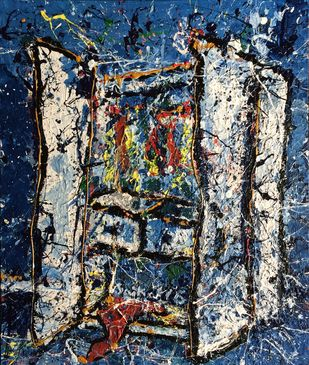 Wardrobe 1 by Saikat Chakraborty, Impressionism Painting, Acrylic on Canvas, Gray color