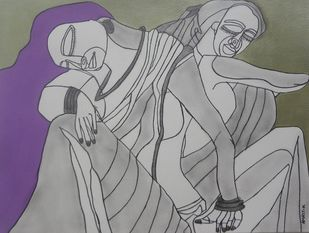 Ensouled by Amrit Khurana, Expressionism Painting, Acrylic on Paper, Gray color