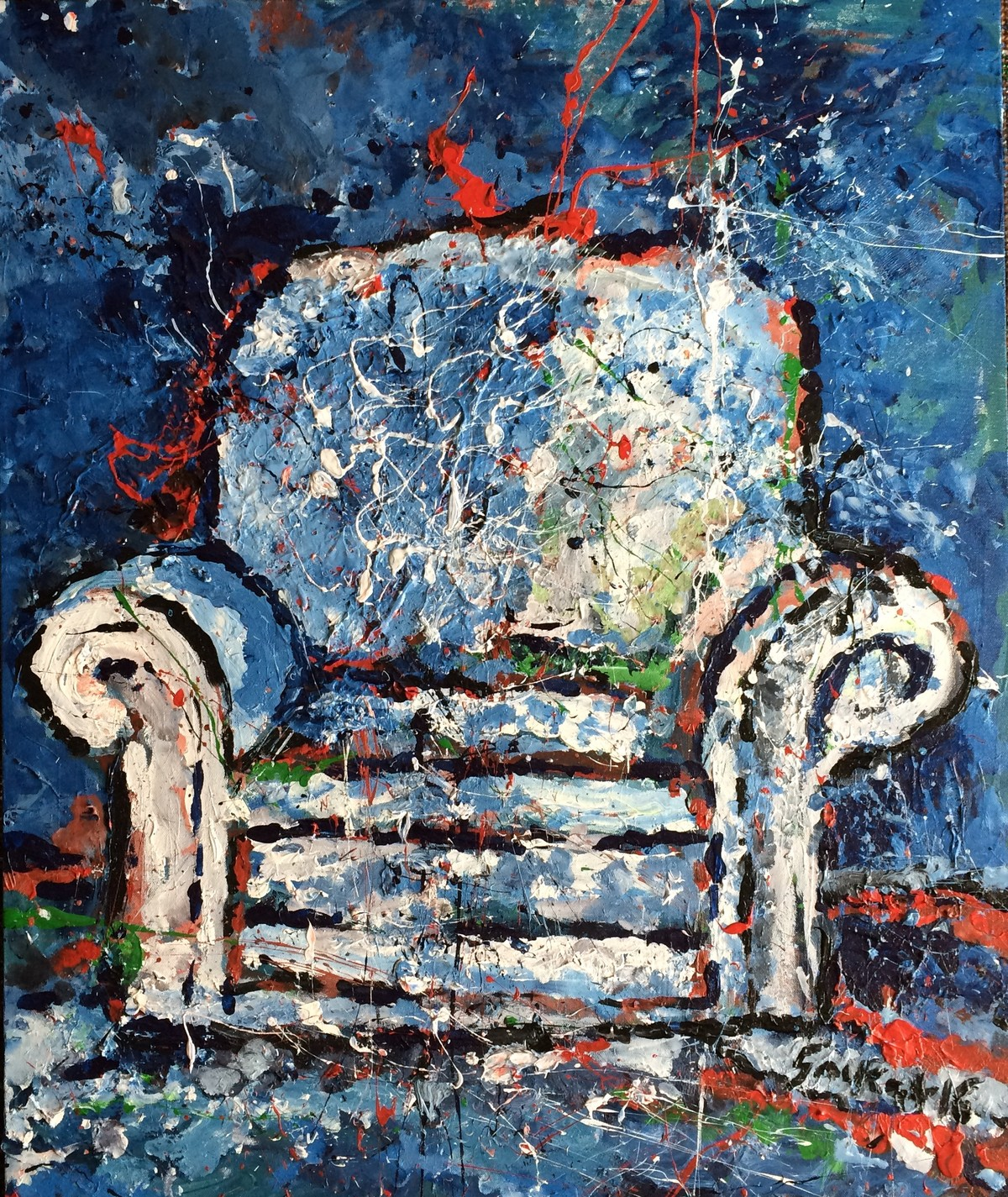 Sofa 2 by Saikat Chakraborty, Impressionism Painting, Acrylic on Canvas, Blue color