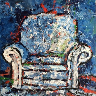 Sofa 2 by Saikat Chakraborty, Impressionism Painting, Acrylic on Canvas, Blue color