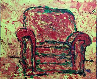 Sofa 3 by Saikat Chakraborty, Impressionism Painting, Acrylic on Canvas, Brown color