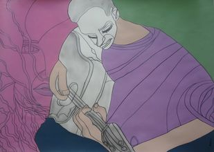 Musical by Amrit Khurana, Expressionism Painting, Acrylic on Paper, Purple color