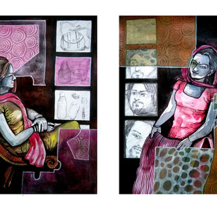 Think of emotion 002 by Ajit Pandit, Expressionism Drawing, Mixed Media, Gray color