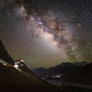 Night At Key Monastery by Nimit Nigam, Image Photography, Digital Print on Archival Paper, Gray color