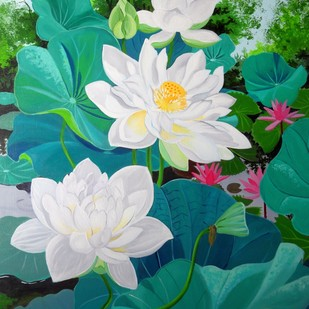 White Indian Lotuses by Vishwajyoti Mohrhoff, Photorealism Painting, Acrylic on Canvas, Green color