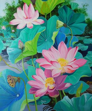 Pink Lotuses by Vishwajyoti Mohrhoff, Photorealism Painting, Acrylic on Canvas, Green color