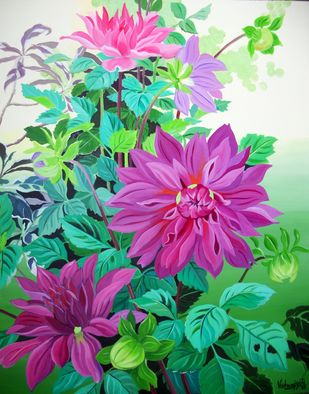 Purple Dahlias by Vishwajyoti Mohrhoff, Photorealism Painting, Acrylic on Canvas, Green color
