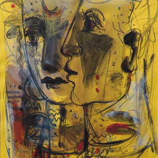 Untitled by Sekhar Kar, Expressionism Painting, Mixed Media on Board, Brown color