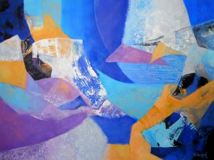 Fragments of Dusk by Vishwajyoti Mohrhoff, Abstract Painting, Acrylic on Canvas, Blue color