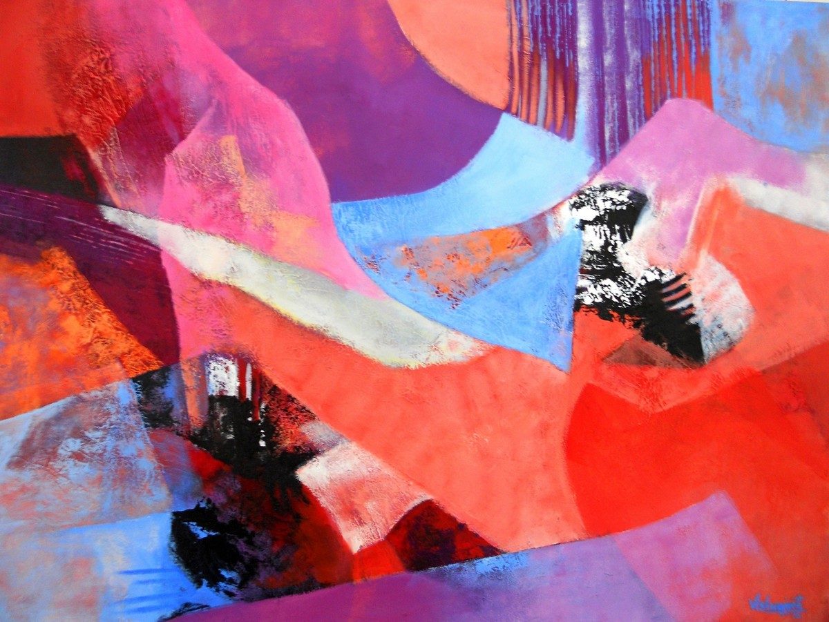 Fragments of Dawn by Vishwajyoti Mohrhoff, Abstract Painting, Acrylic on Canvas, Pink color