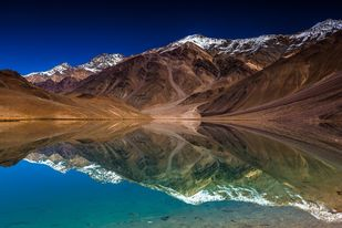 Valley Reflection by Jagjit Singh, Image Photography, Digital Print on Archival Paper, Brown color
