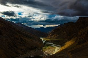 Valley River by Jagjit Singh, Image Photography, Digital Print on Archival Paper, Blue color