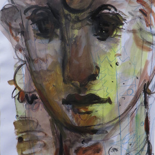 Untitled by Shekhar Kar, Expressionism Painting, Mixed Media on Board, Brown color