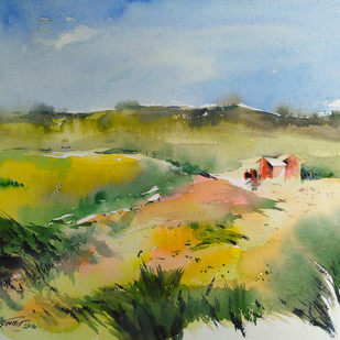 Landscape by Raj Kr Singh, Impressionism Painting, Watercolor on Paper, Green color