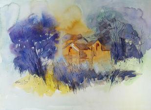 Landscape by Raj Kr Singh, Impressionism Painting, Watercolor on Paper, Beige color