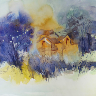Landscape by Raj Kr Singh, Impressionism Painting, Watercolor on Paper, Beige color