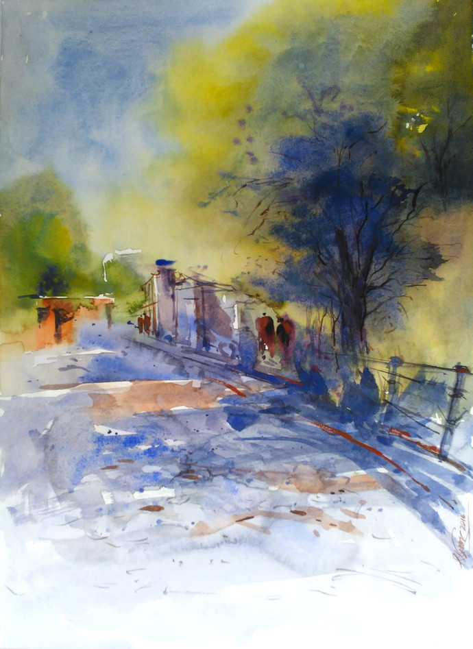 Watercolour by Raj Kr Singh, Impressionism Painting, Watercolor on Paper, Beige color