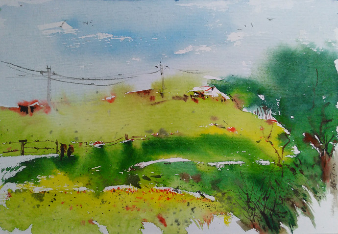 Watercolour by Raj Kr Singh, Impressionism Painting, Watercolor on Paper, Green color