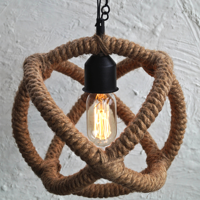 Arbelos Industrial Rope Pendant Light Ceiling Lamp By The Black Steel