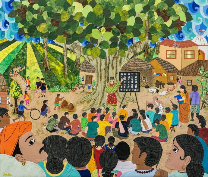 The Learning Tree by Sailesh Sanghvi, Impressionism Painting, Mixed Media on Canvas, Green color