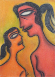 Mother & child by Prokash Karmakar, Expressionism Painting, Pastel on Paper, Brown color