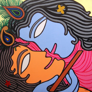 Radha Krishna by Prokash Karmakar, Expressionism Painting, Acrylic on Canvas, Brown color