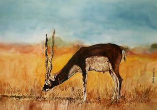 wildlife by Uday Bhan, Realism Painting, Watercolor on Paper, Brown color