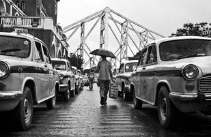 Umbrella Man by Haran Kumar, Image Photography, Digital Print on Archival Paper, Gray color