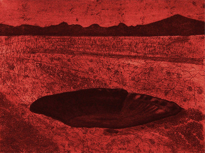 Beneath Shades never Fades - 2 by Soghra Khurasani, Conceptual Printmaking, Etching on Paper, Red color