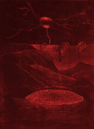 Dark Shades by Soghra Khurasani, Conceptual Printmaking, Etching on Paper, Brown color