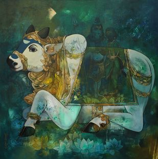 nandi by Rajeshwar Nyalapalli, Conceptual Painting, Acrylic on Canvas, Green color