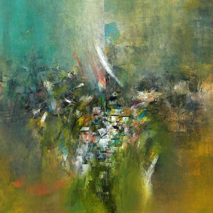 My thinking by M Singh, Expressionism Painting, Acrylic on Canvas, Green color