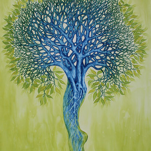 COHESION TENSION by PABITRA DAS, Conceptual Painting, Watercolor on Paper, Green color