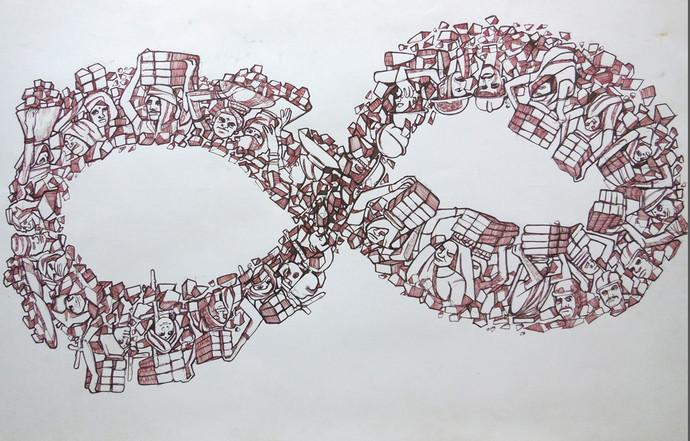 LOOP by PRASAD K V, Conceptual Drawing, Pen on Paper, Gray color